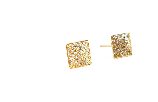 Medium Gold & Diamond Pyramid Earring - The EarStylist by Jo Nayor - 1