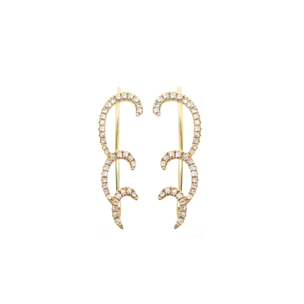Gold and Diamond Swirl Climber Earring - The EarStylist by Jo Nayor - 1