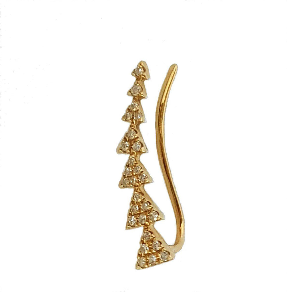 Gold and Diamond Triangle Climber Earring - The EarStylist by Jo Nayor - 1