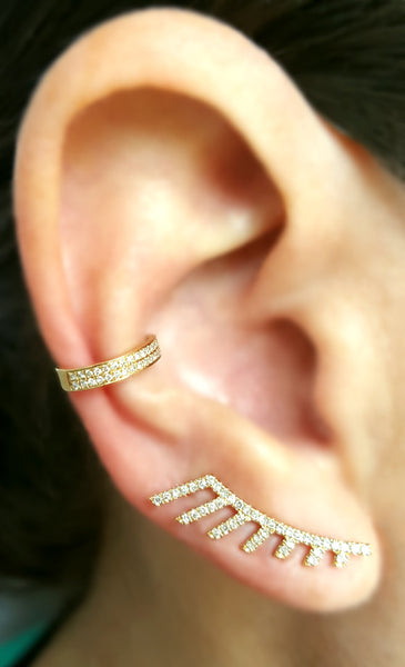 Gold and Diamond Fan Climber - The EarStylist by Jo Nayor - 2