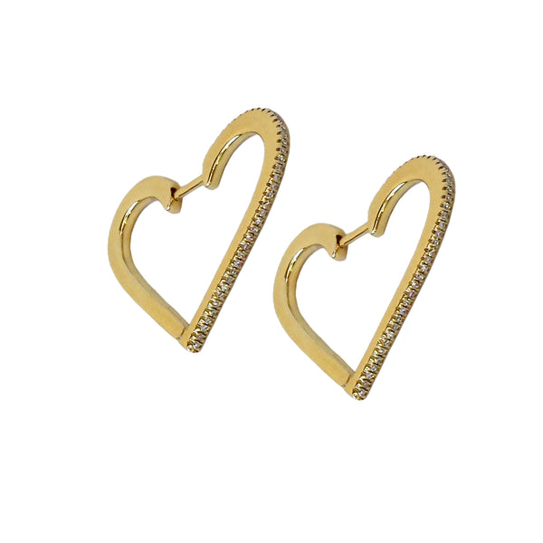 Diamond Heart Hoop Earrings - Designer Earrings - The EarStylist by Jo Nayor