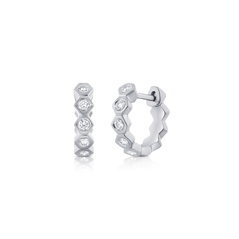 Hex Hoop Earrings - Designer Earrings - The EarStylist by Jo Nayor