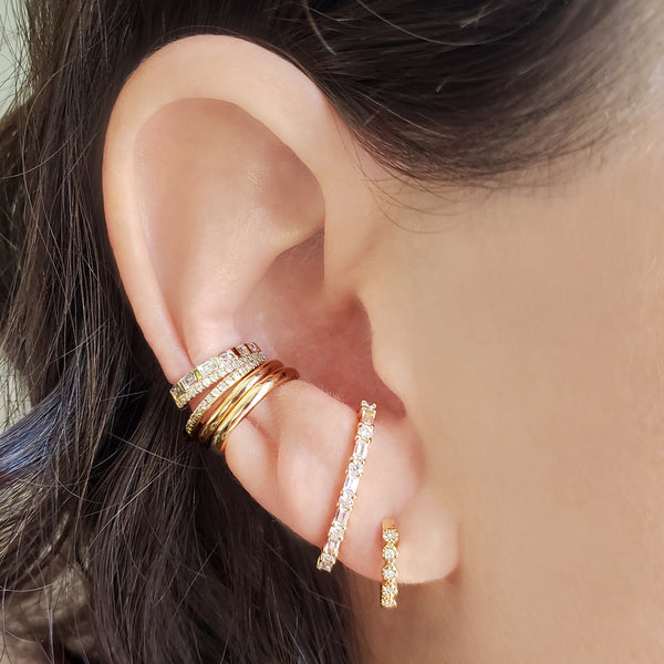 Baguette & Brilliant Ear Cuff - Designer Earrings - The EarStylist by Jo Nayor