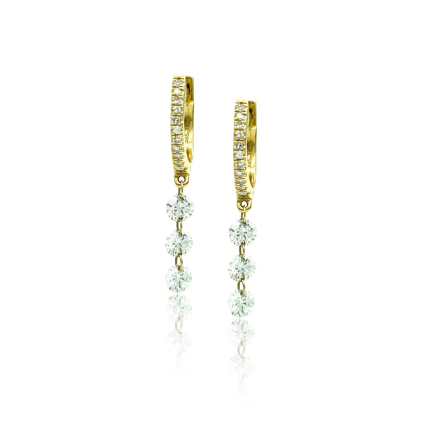 Illusion Drop Diamond Mini Hoops- Earrings - Ear Stylist by Jo Nayor