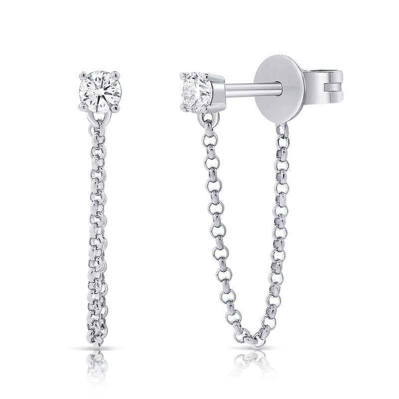 Tethered Single Prong Set Diamond Earring - Earrings - The Ear Stylist