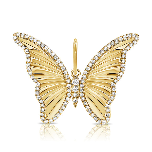 14K Gold & Diamond Butterfly Charm - Designer Necklace - Jo Nayor