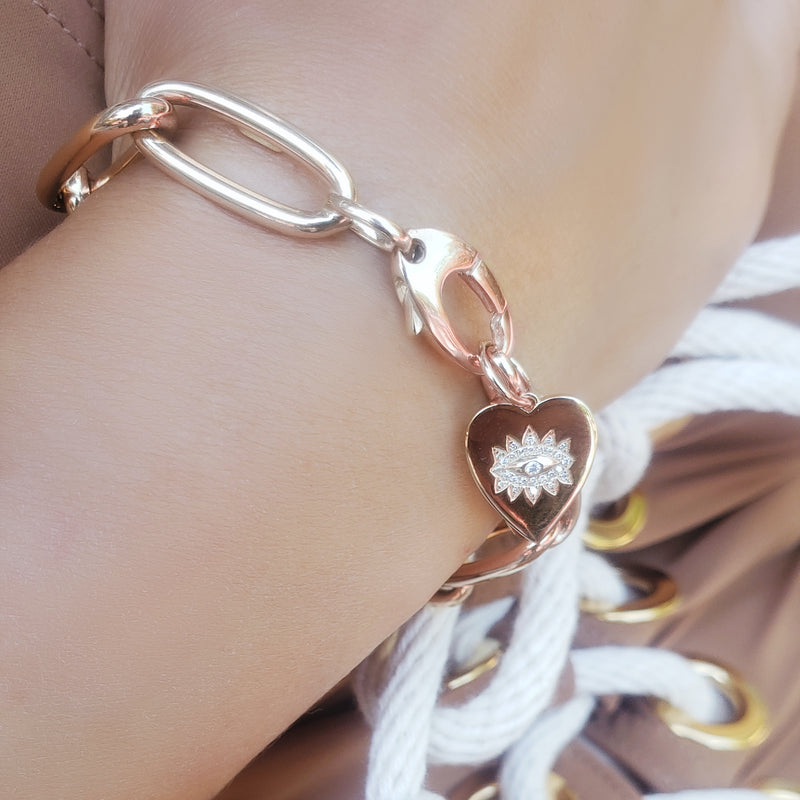 Jumbo Oval Link Bracelet with Evil Eye Heart Charm - Designer Earrings - The EarStylist by Jo Nayor