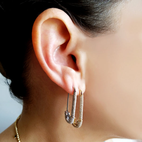 Jumbo Diamond Safety Pin Earring - The Ear Stylist by Jo Nayor