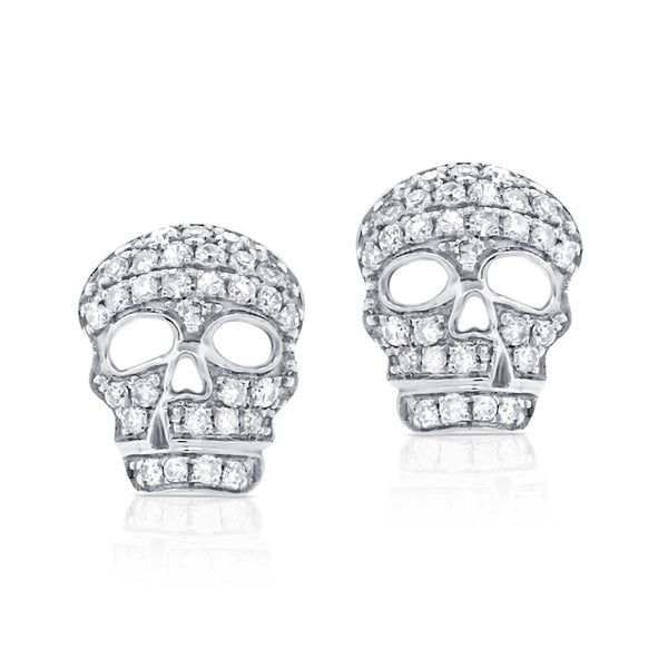 Diamond Skull Post Earring - Designer Earrings - The EarStylist by Jo Nayor