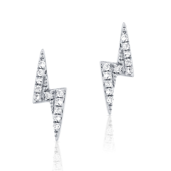 Diamond Lightning Bolt Stud Earring - Designer Earrings - The EarStylist by Jo Nayor