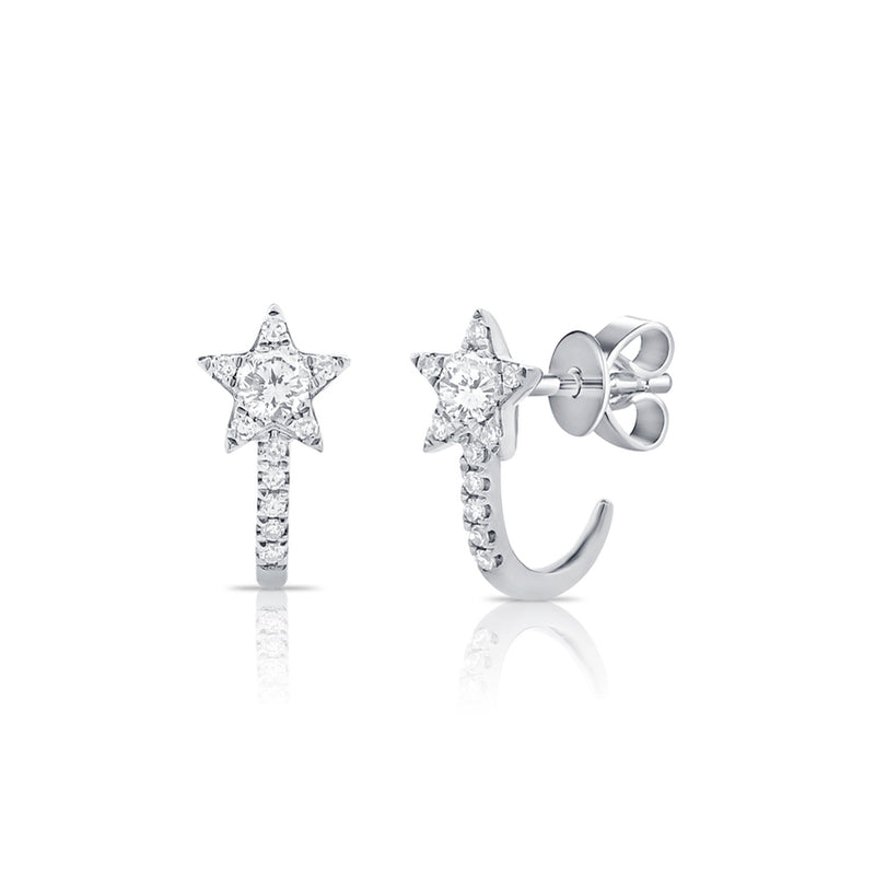 Diamond Star Hook Earrings - Designer Earrings - The EarStylist by Jo Nayor