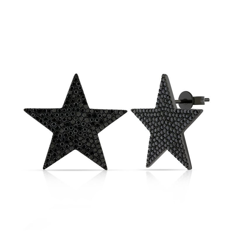 Black Diamond Rock Star Earrings - Designer Earrings - The EarStylist