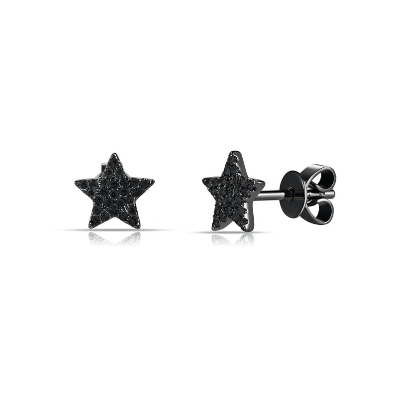Large Black Pave Diamond Star Stud Earring - Designer Earrings - The EarStylist by Jo Nayor