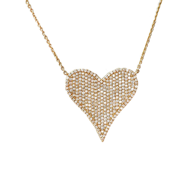 Jumbo Pave Diamond Heart Necklace - Designer Earrings - The EarStylist by Jo Nayor
