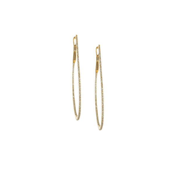 Diamond Oval Hoop Earrings in 14K Gold
