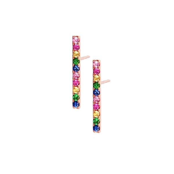 Long Rainbow Bar Post Earring - Designer Earrings - The EarStylist by Jo Nayor