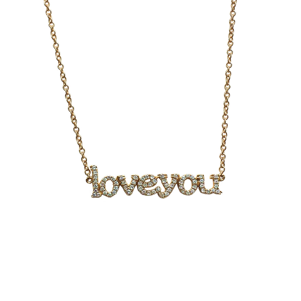 Love You Diamond Necklace - Designer Earrings - The EarStylist by Jo Nayor