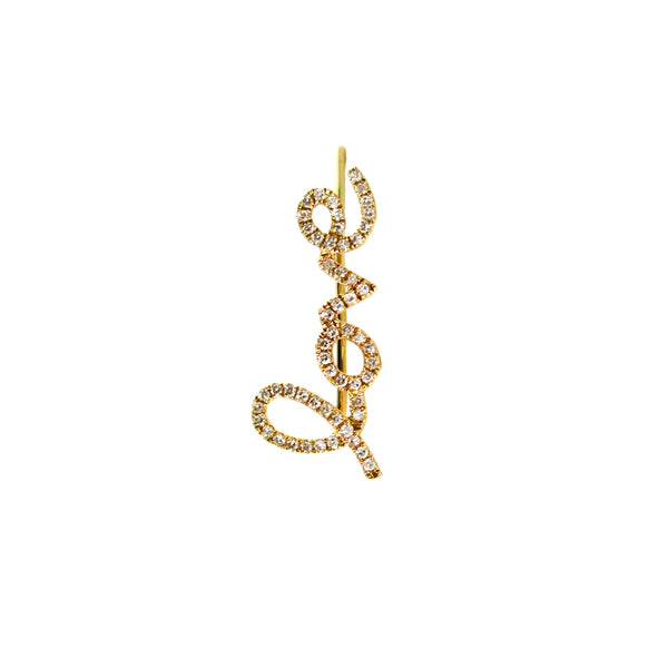 Gold and Diamond Love Climber Earring - Designer Earrings - The EarStylist by Jo Nayor