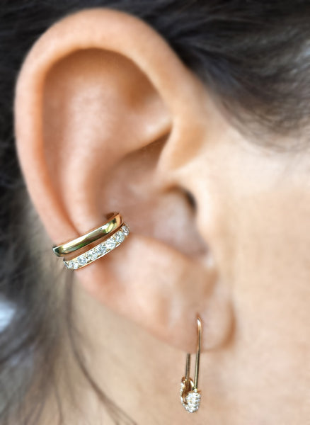 Diamond Safety Pin Earring - The EarStylist by Jo Nayor - 4