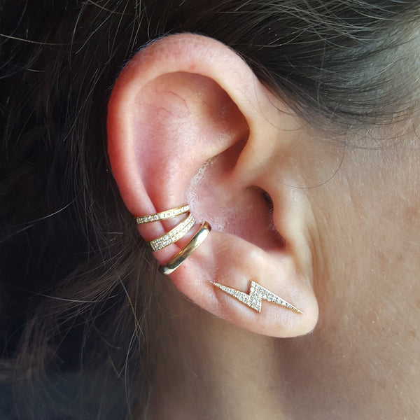 Solid 14K Gold Low Rider Ear Cuff - The Ear Stylist by Jo Nayor