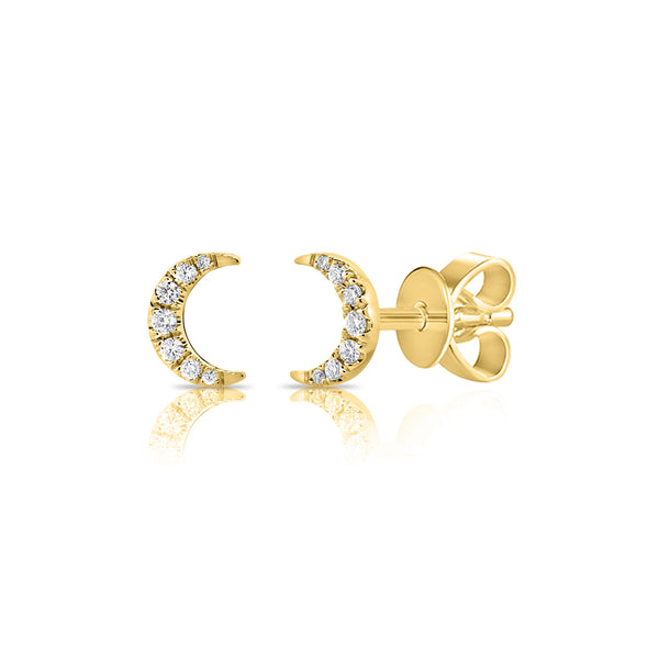 Gold & Diamond Mini Moon Earring - The Ear Stylist by Jo Nayor