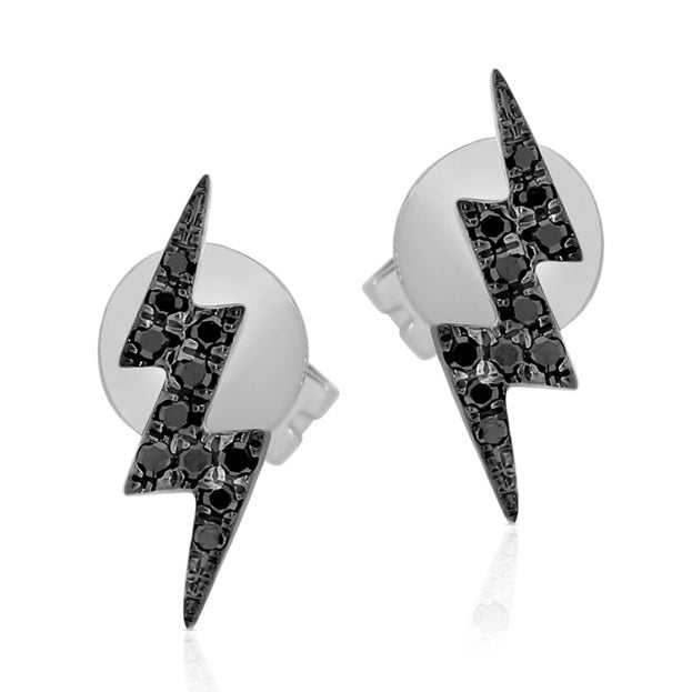 Black Diamond Double Lightning Bolt Stud Earring - Designer Earrings - The EarStylist by Jo Nayor