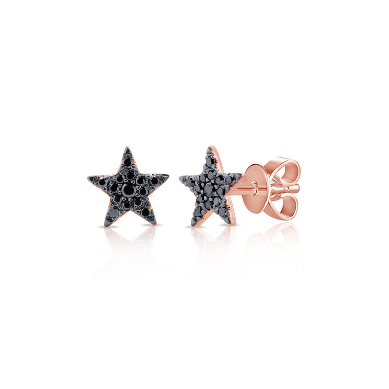 Black Diamond Pave Star Stud Earring - Designer Earrings - The EarStylist by Jo Nayor