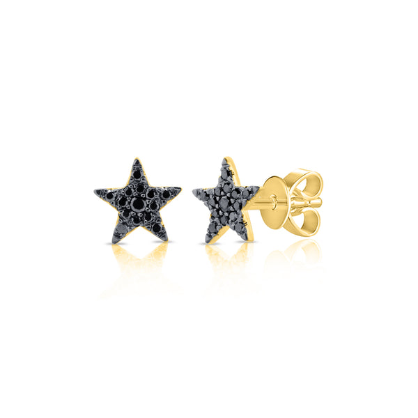 Black Diamond Pave Star Stud Earring - The Ear Stylist by Jo Nayor
