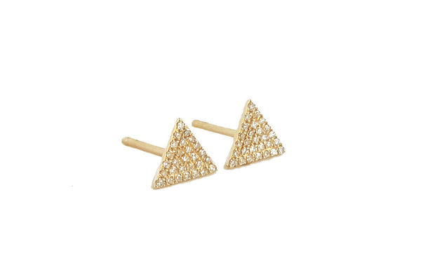 Medium Gold & Diamond Triangle Earring - Designer Earrings - The EarStylist by Jo Nayor