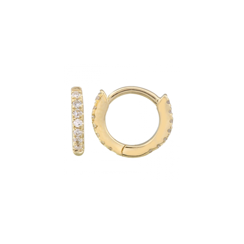 14k Gold Diamond Eternity Micro Hoop Earrings - Designer Earrings - The EarStylist by Jo Nayor