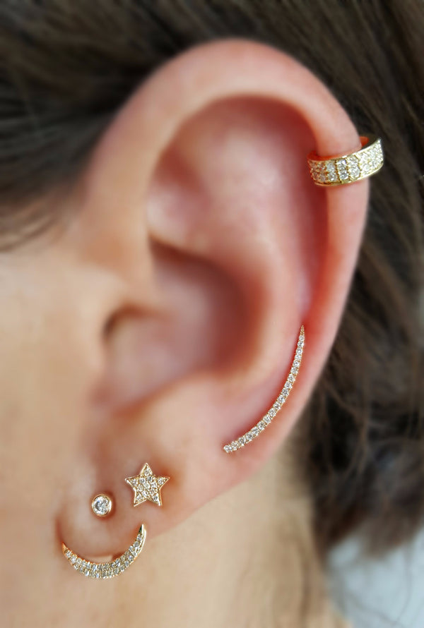 Diamond & Gold Mini-Ear Cuff - Designer Earrings - The EarStylist by Jo Nayor