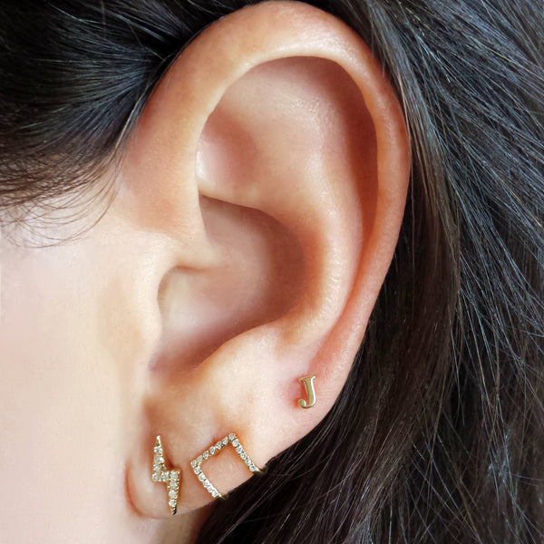 Mini Gold Letter Earring - Designer Earrings - The EarStylist by Jo Nayor