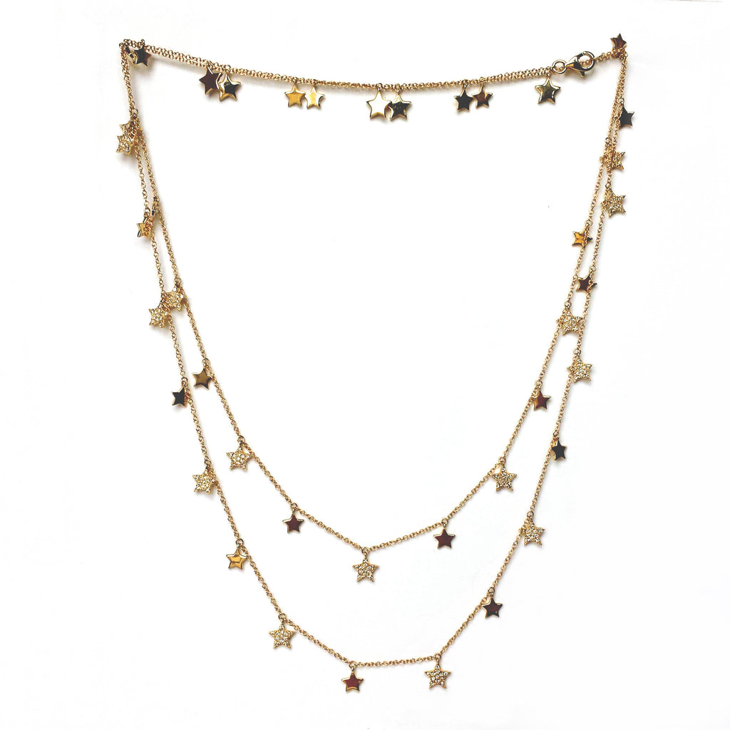 Multi-Star Pave Necklace