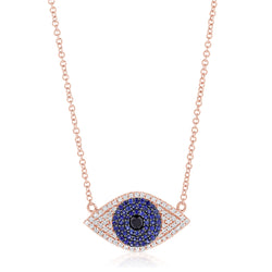 Sapphire and Diamond Evil Eye Necklace - The Ear Stylist by Jo Nayor