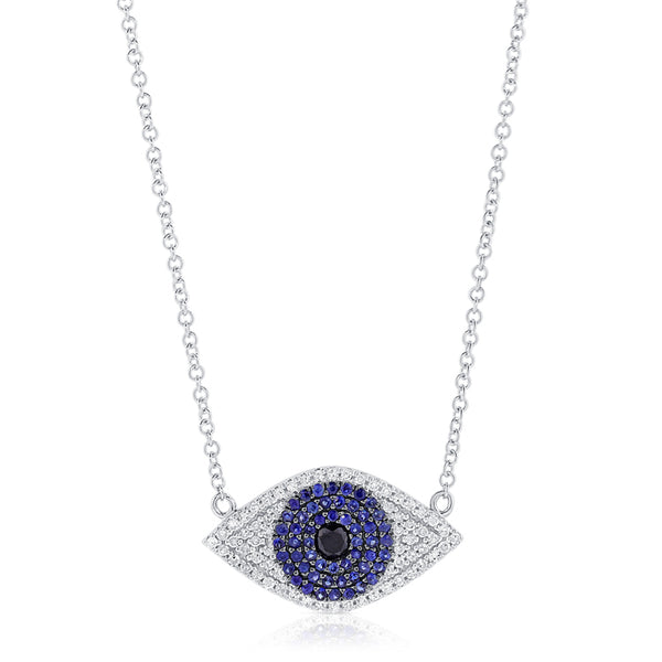 Sapphire and Diamond Evil Eye Necklace - Designer Earrings - The EarStylist by Jo Nayor