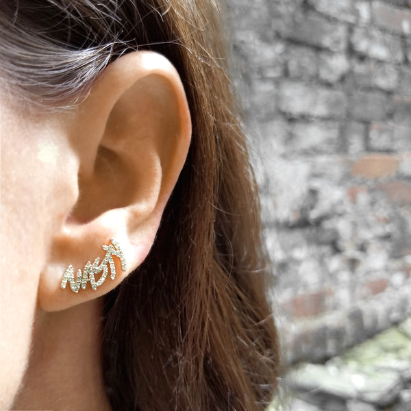 White Diamond Nasty Climber Earring - Designer Earrings - The EarStylist by Jo Nayor