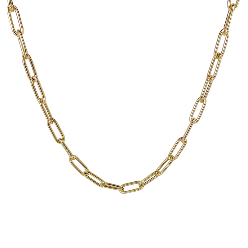 Oval Link 14K Gold Chain Necklace - Designer Earrings - The EarStylist by Jo Nayor