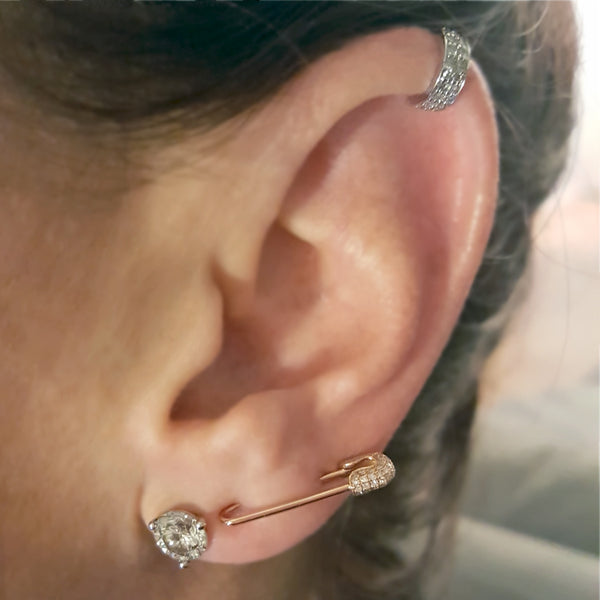 Diamond Safety Pin Earring - The EarStylist by Jo Nayor - 2