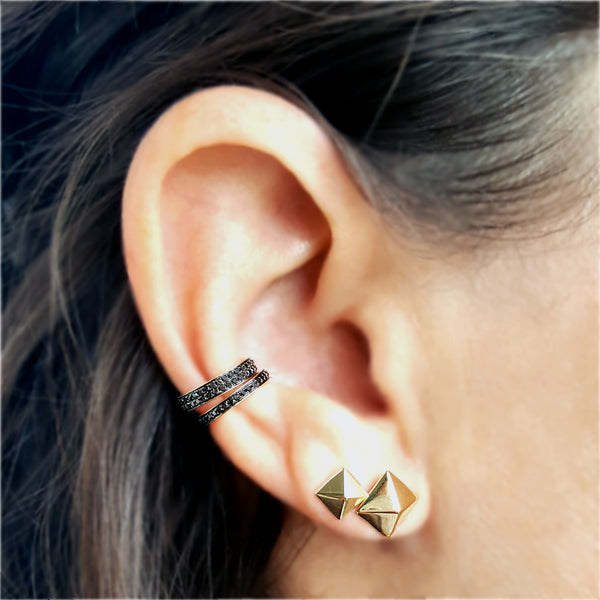 Full Double Row Black Diamond & Gold Ear Cuff - Designer Earrings - The EarStylist by Jo Nayor