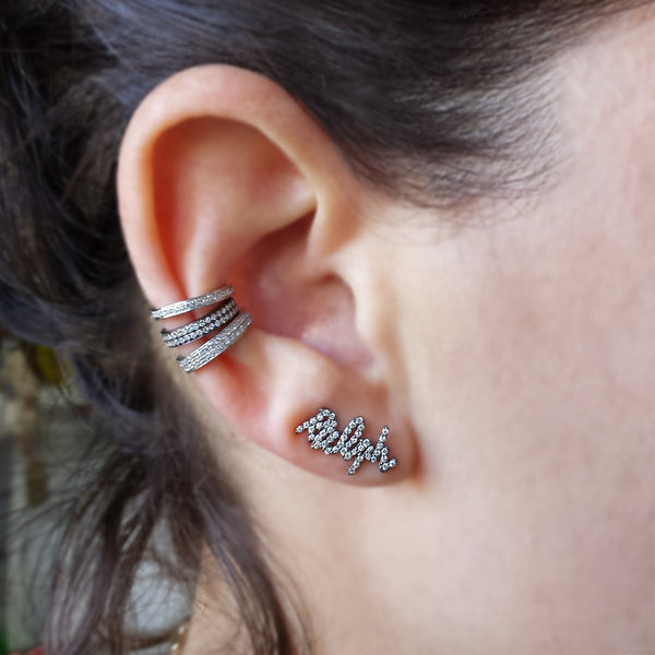 Diamond Name Ear Climber - The EarStylist by Jo Nayor - 2
