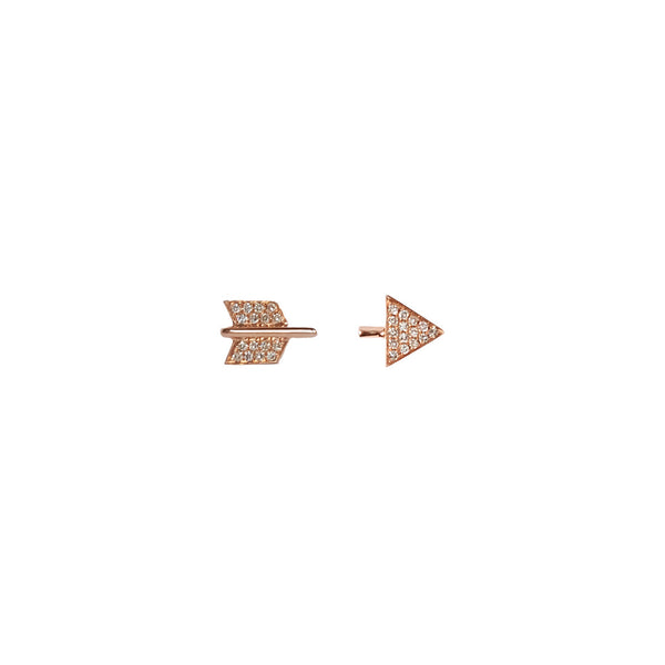 14K Gold and Diamond Broken Arrow Stud Earrings - The EarStylist by Jo Nayor - 1
