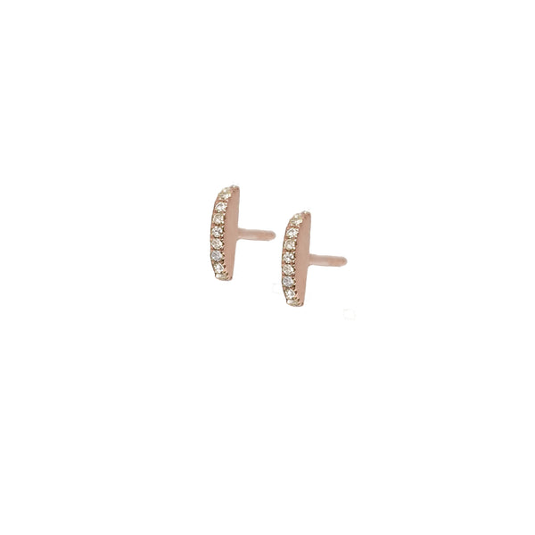 Diamond Sphere Slice Earring in 14K Rose Gold