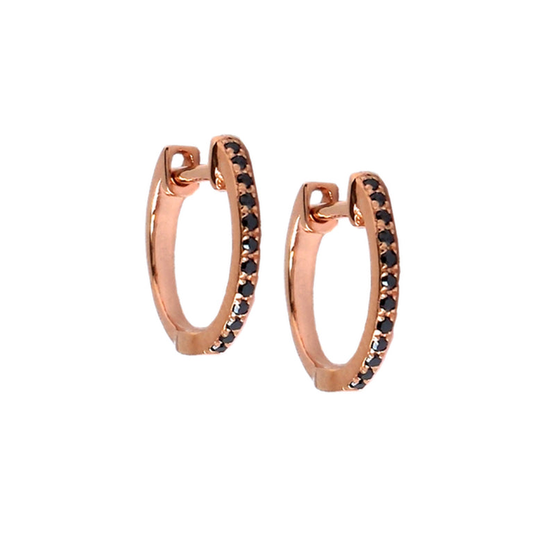 Small Black Diamond Hoop Earrings - Designer Earrings - The EarStylist by Jo Nayor