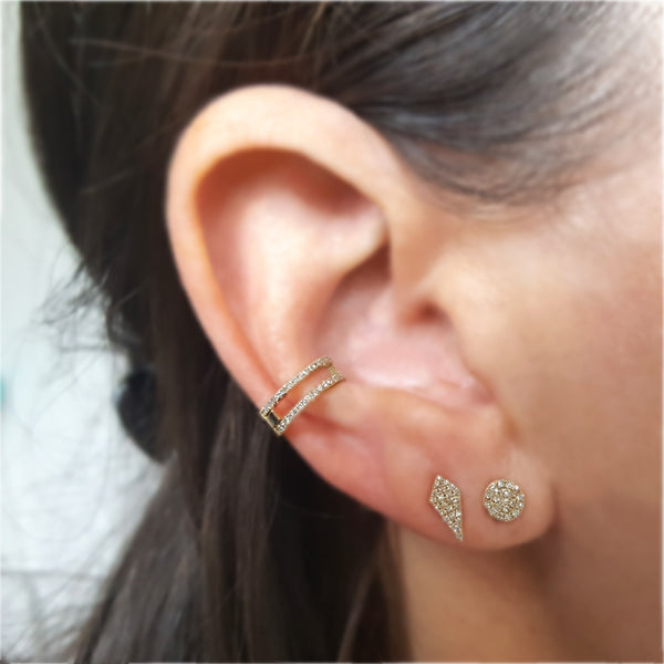 Round Pave Stud Earring - The EarStylist by Jo Nayor - 2