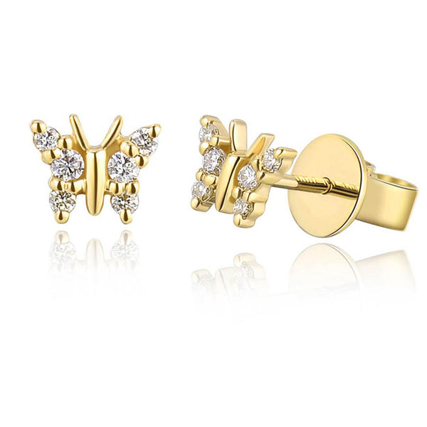 Small Diamond Butterfly Stud Earring - Designer Earrings - The EarStylist by Jo Nayor