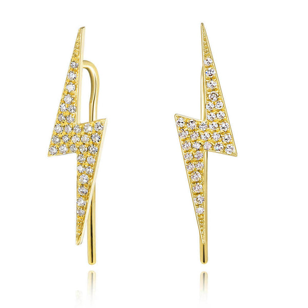 14K Gold & Diamond Lightning Bolt Climber - Designer Earrings - The EarStylist by Jo Nayor