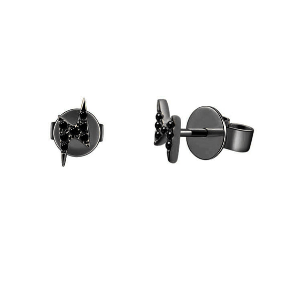 Black Diamond Mini Bolt Stud Earring - Designer Earrings - The EarStylist by Jo Nayor