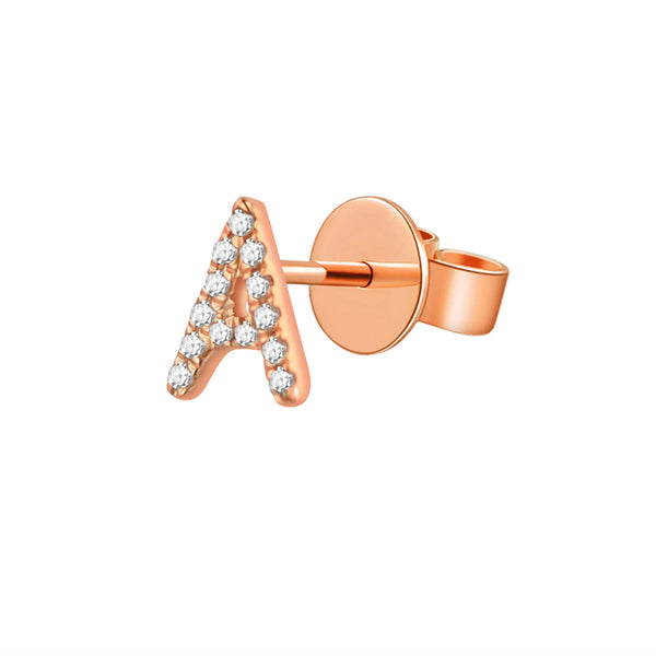 Gold and Diamond Initial Earring - Designer Earrings - The EarStylist by Jo Nayor