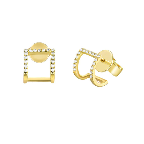 Gold & Diamond Cage Post Earring - Designer Earrings - The EarStylist by Jo Nayor