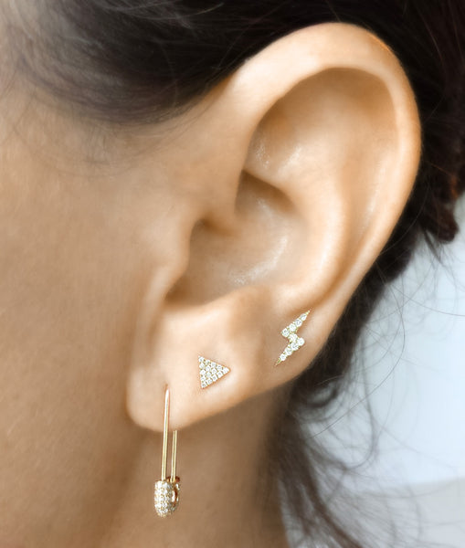 Diamond Safety Pin Earring - The EarStylist by Jo Nayor - 3